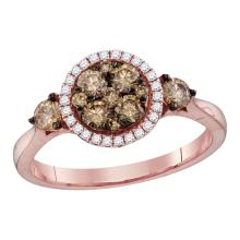 0.76 CTW Cognac-brown Color Diamond Cluster Bridal Ring 14KT Rose Gold - REF-82H4M
