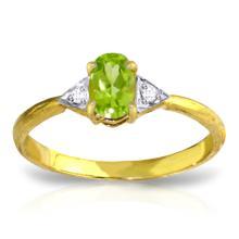 Genuine 0.46 ctw Peridot & Diamond Ring Jewelry 14KT Yellow Gold - REF-22R5P