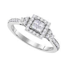 0.50 CTW Princess Diamond Square Cluster Ring 10KT White Gold - REF-52H4M