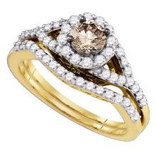 1.05 CTW Cognac-brown Diamond Bridal Wedding Engagement Ring 14KT Yellow Gold - REF-112W5K