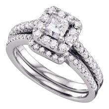 1 CTW Princess Diamond Halo Bridal Engagement Ring 14KT White Gold - REF-179F9N