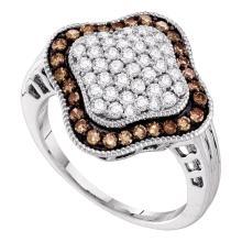 1 CTW Cognac-brown Color Diamond Cluster Ring 10KT White Gold - REF-34W4K