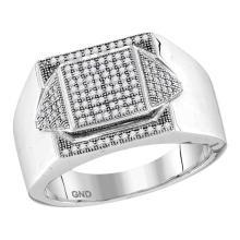 0.35 CTW Mens Diamond Square Cluster Ring 10KT White Gold - REF-44W9K