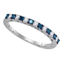 0.25 CTW Blue Color Diamond Ring 10KT White Gold - REF-18N2F