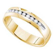 0.50 CTW Mens Channel-set Diamond Single Row Wedding Ring 14KT Yellow Gold - REF-78X8Y
