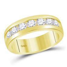 1.5 CTW Mens Channel-set Diamond Wedding Ring 14KT Yellow Gold - REF-269F9N