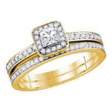 0.69 CTW Princess Diamond Bridal Engagement Ring 10KT Yellow Gold - REF-67H4M