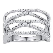 0.40 CTW Diamond Crossover Ring 10KT White Gold - REF-37H5M