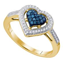 0.25 CTW Blue Color Diamond Framed Heart Ring 10KT Yellow Gold - REF-26Y9X