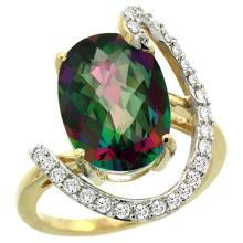 Natural 5.89 ctw Mystic-topaz & Diamond Engagement Ring 14K Yellow Gold - REF-91V4F