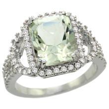 Natural 3.08 ctw green-amethyst & Diamond Engagement Ring 14K White Gold - REF-106W3K