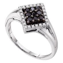 0.20 CTW Black Color Diamond Square Cluster Ring 14KT White Gold - REF-22W4K