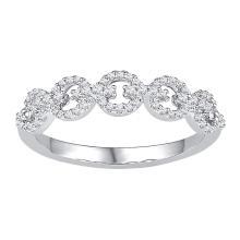 0.25 CTW Diamond Linked Ring 10KT White Gold - REF-19W4K