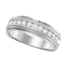 1 CTW Mens Diamond Wedding Ring 14KT White Gold - REF-132F2N