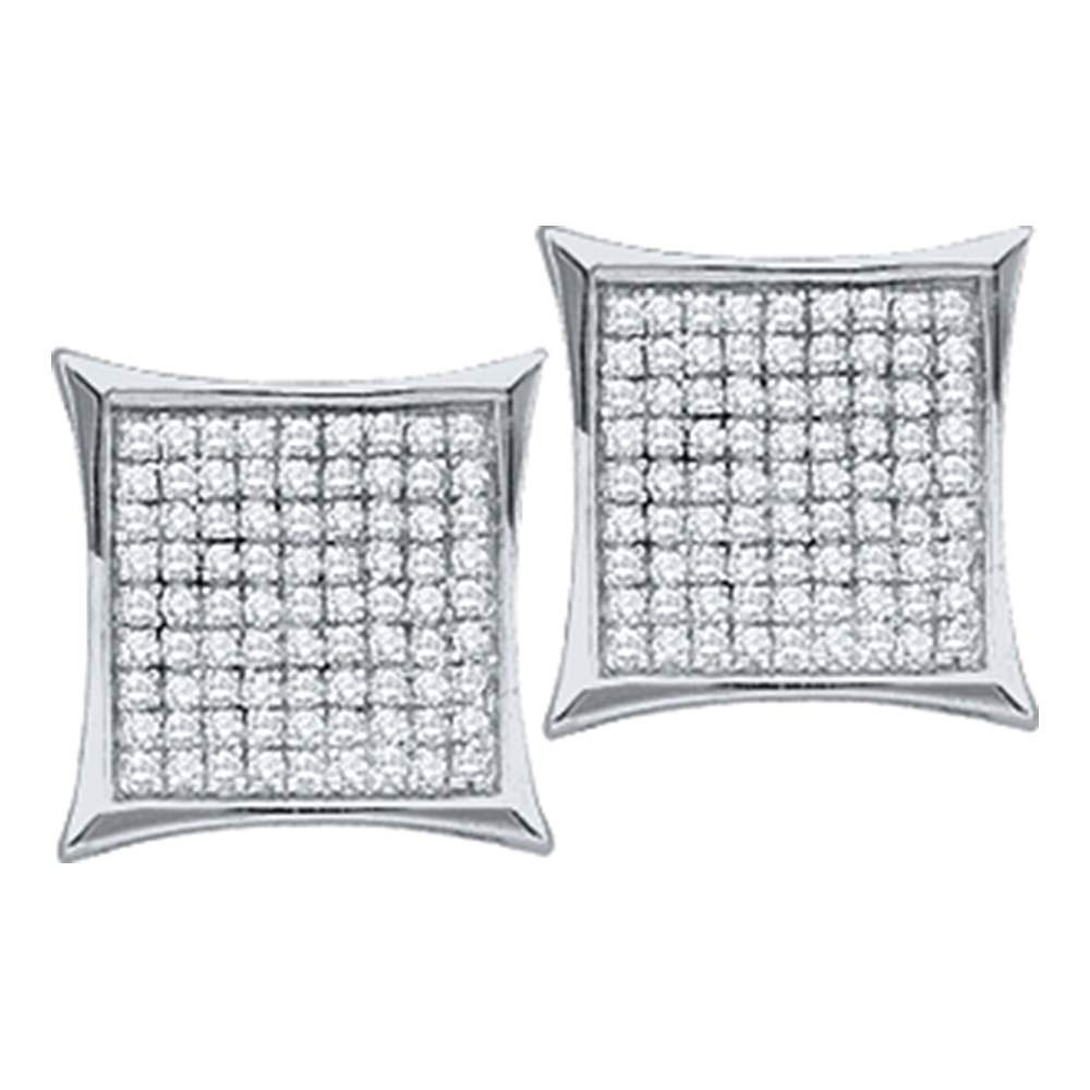 0.15 CTW Diamond Square Cluster Earrings 10KT White Gold - REF-8K9W