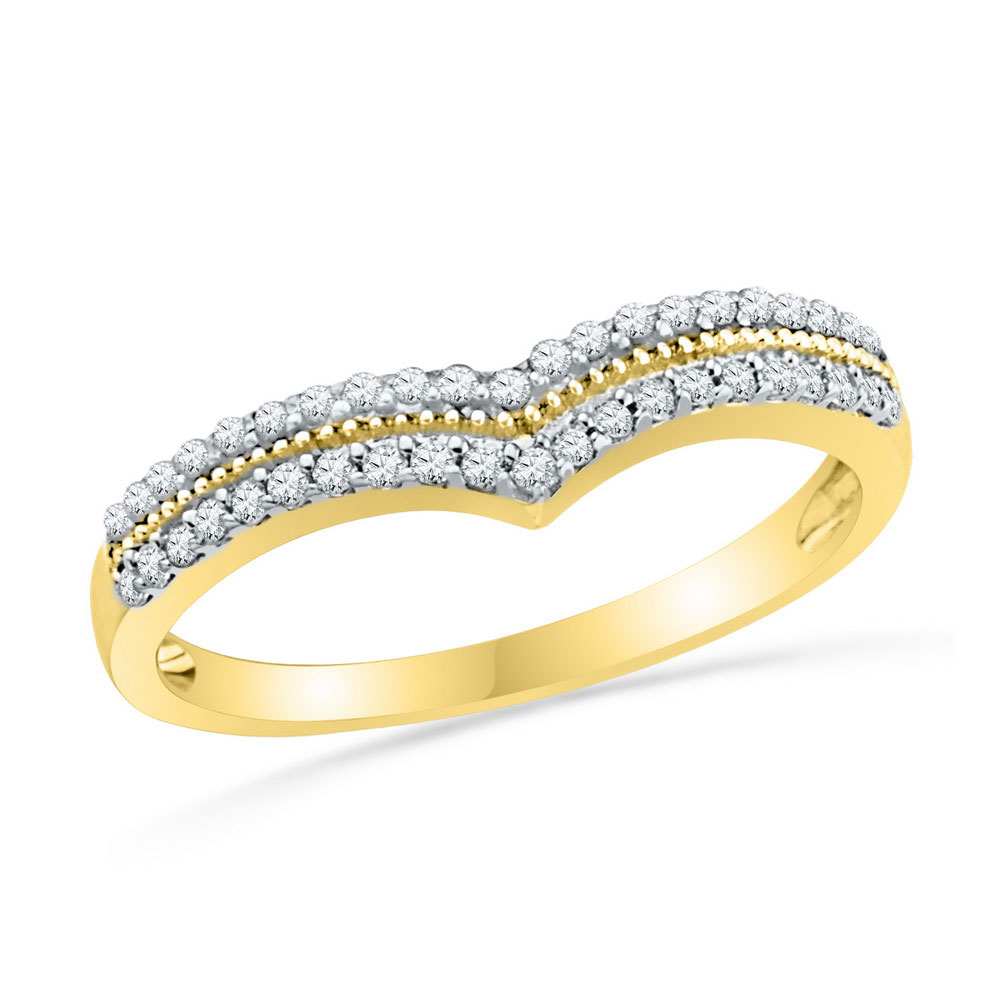 0.25 CTW Diamond Chevron Ring 10KT Yellow Gold - REF-25H4M