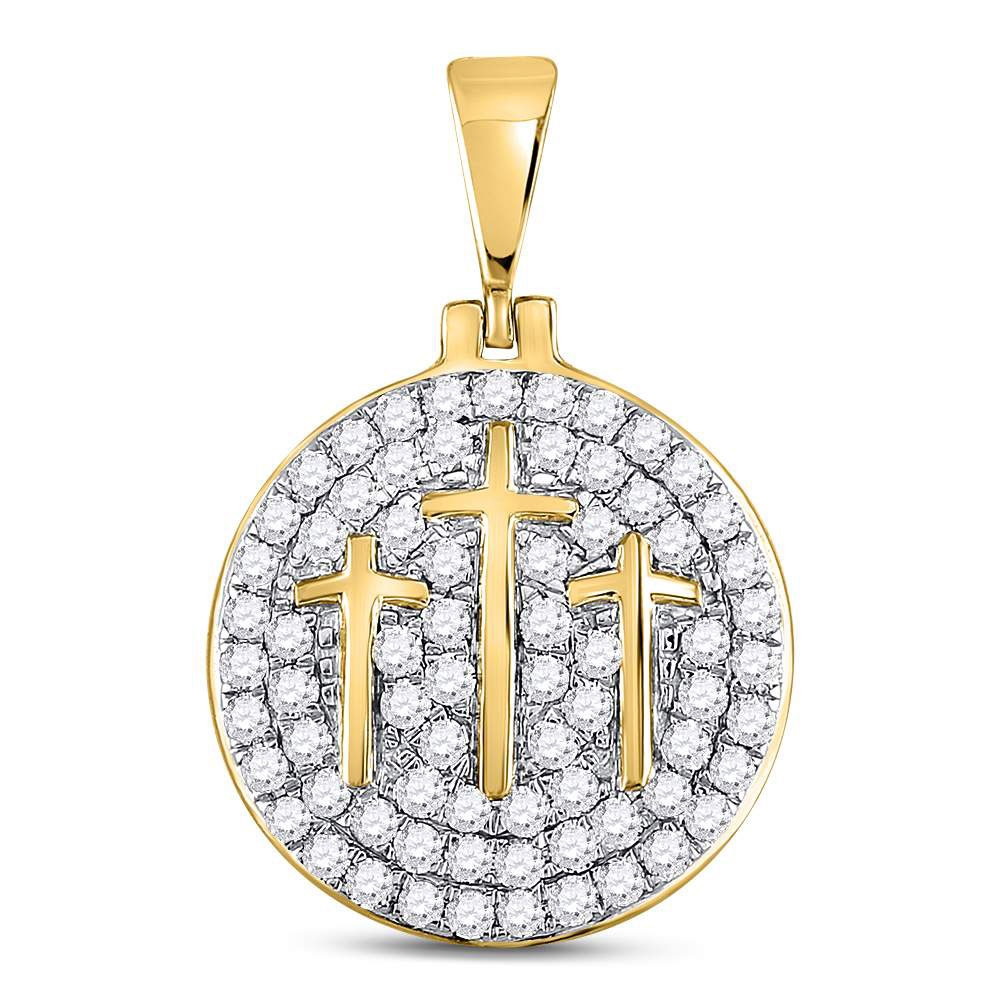 1.5 CTW Diamond Pendant 10KT Yellow Gold - REF-143M3Y