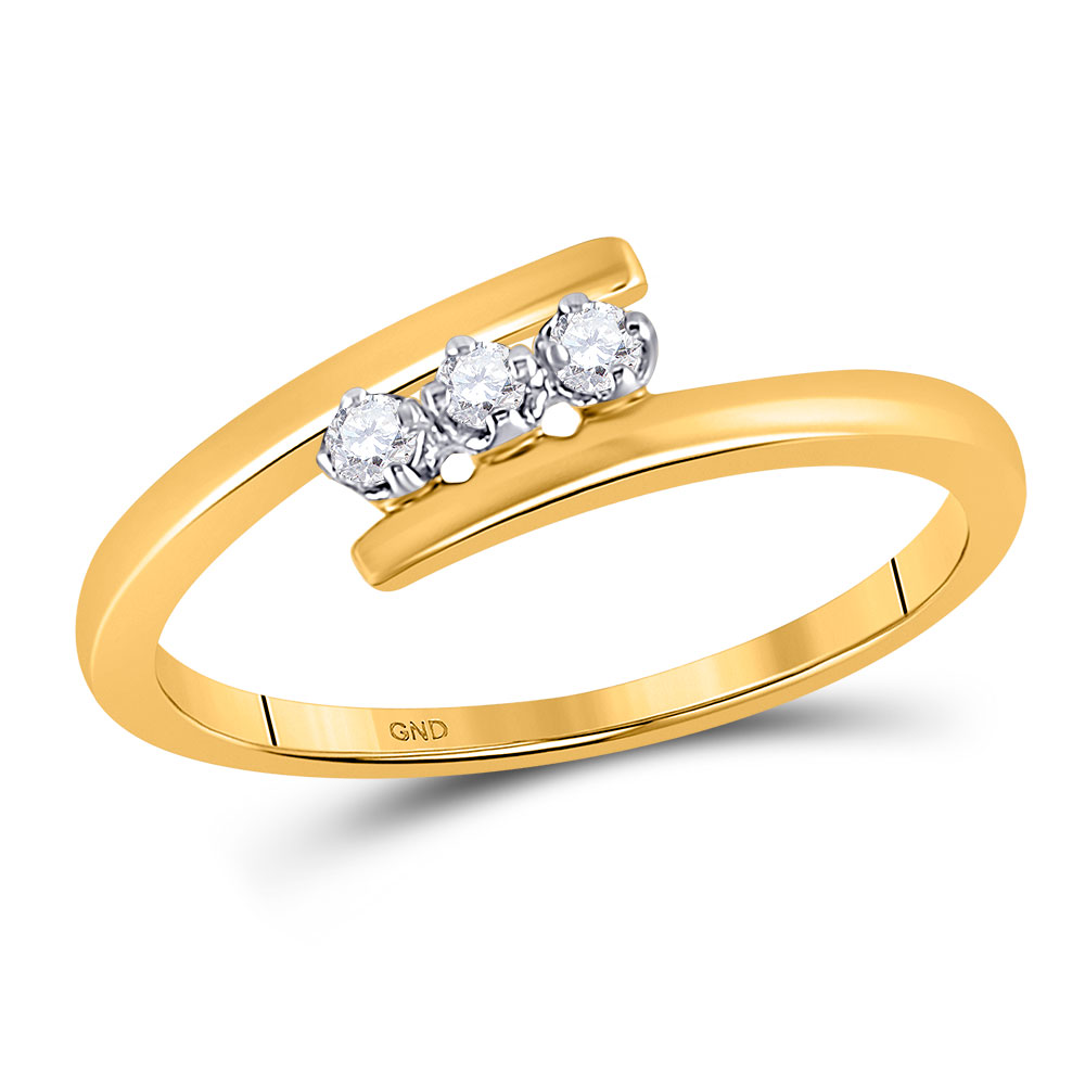 0.10 CTW Diamond 3-stone Bridal Engagement Ring 10KT Yellow Gold - REF-12K2W