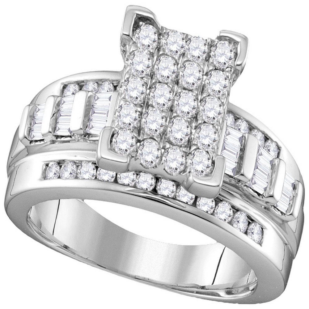 0.84 CTW Diamond Rectangle Cluster Bridal Engagement Ring 10KT White Gold - REF-59Y9X