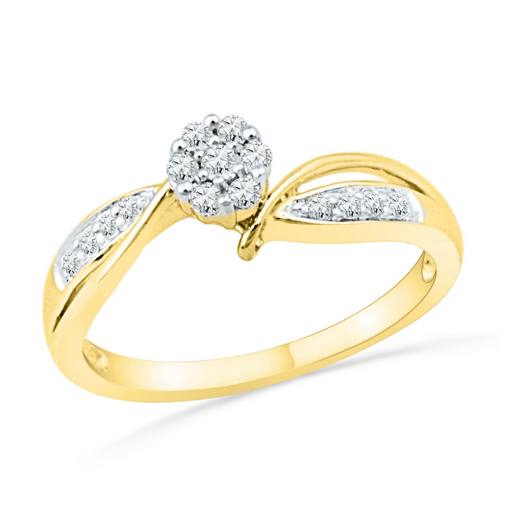 0.20 CTW Diamond Cluster Bridal Engagement Ring 10KT Yellow Gold - REF-24X2Y