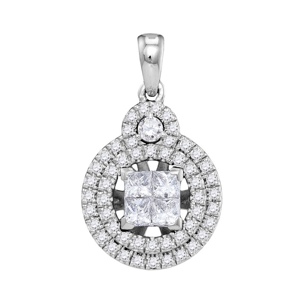 0.94 CTW Princess Diamond Cluster Circle Pendant 14KT White Gold - REF-112W5K