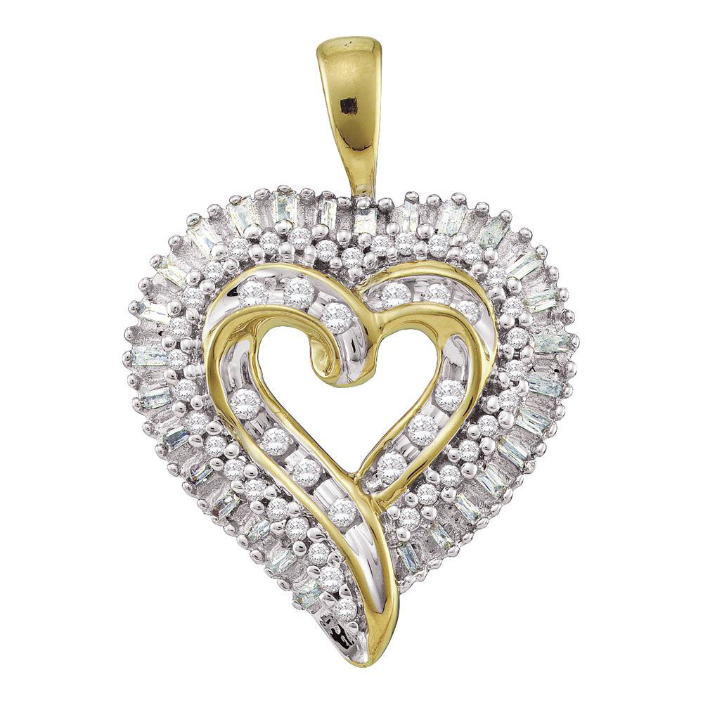 0.53 CTW Diamond Heart Pendant 10KT Yellow Gold - REF-32N9F