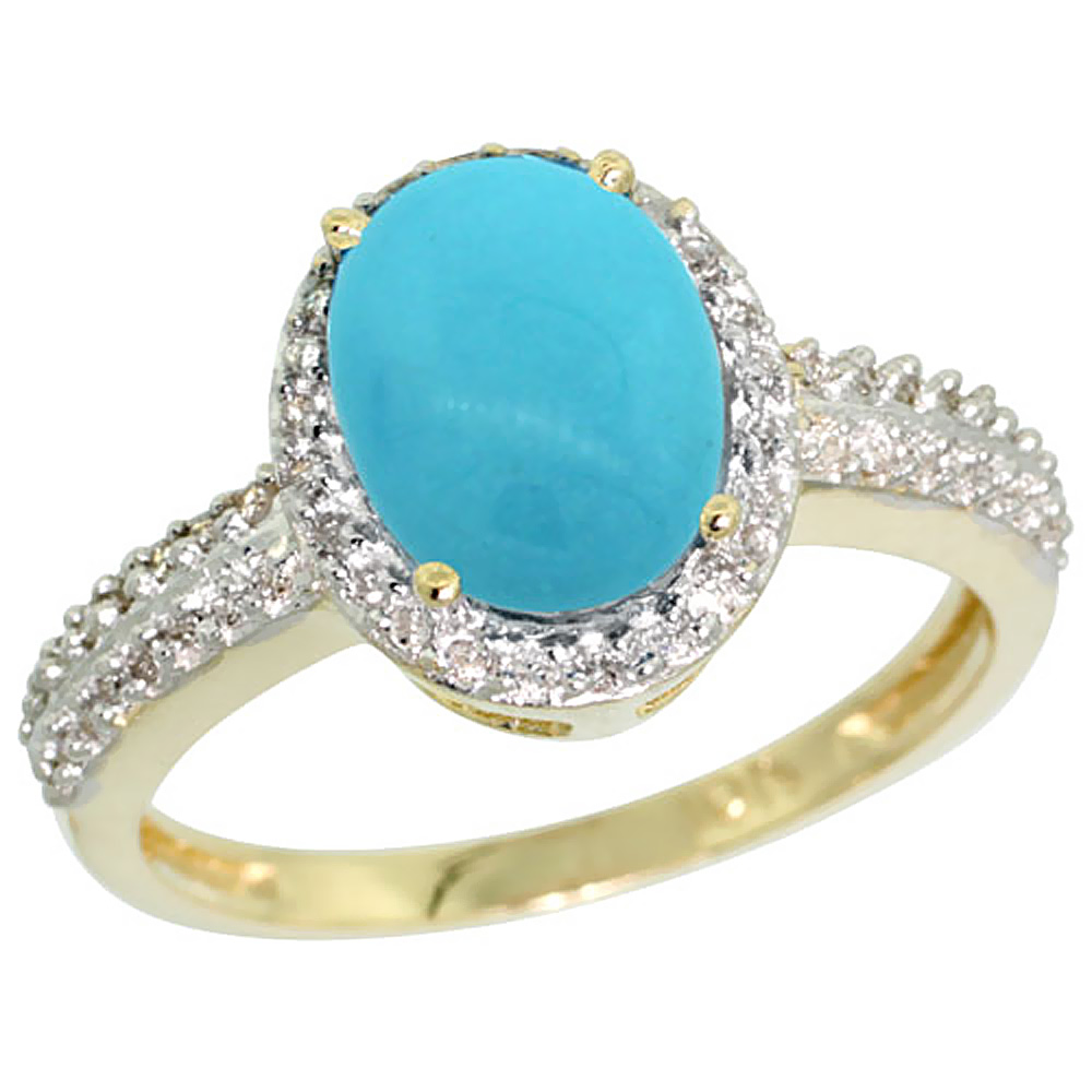Natural 1.91 ctw Turquoise & Diamond Engagement Ring 10K Yellow Gold - REF-34K3R