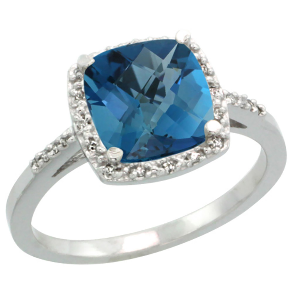 Natural 3.92 ctw London-blue-topaz & Diamond Engagement Ring 10K White Gold - REF-27G3M