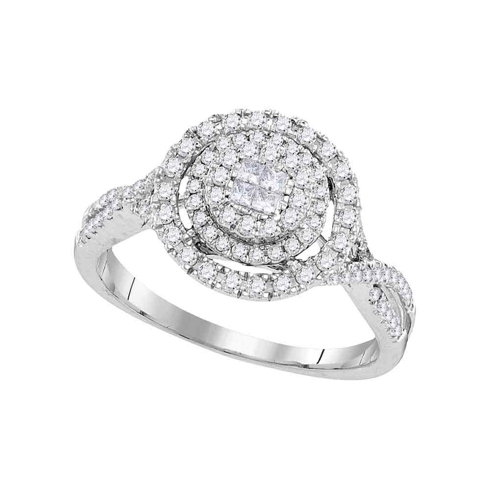 0.51 CTW Princess Diamond Soleil Cluster Bridal Engagement Ring 14KT White Gold - REF-67Y4X