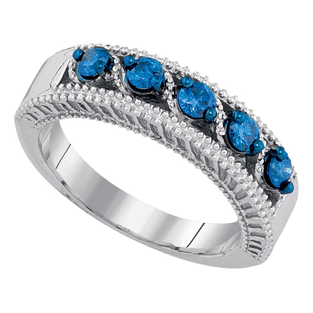 0.45 CTW Blue Color Diamond Milgrain Ring 10KT White Gold - REF-44X9Y