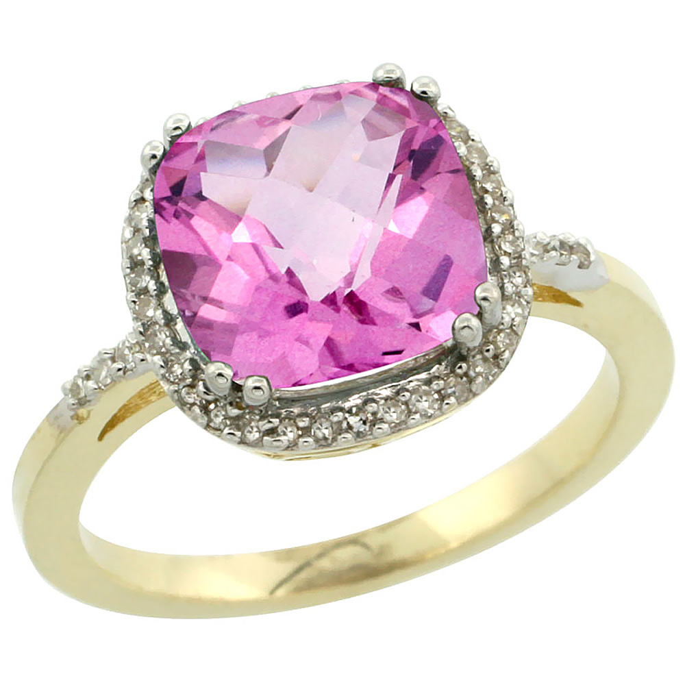 Natural 4.11 ctw Pink-topaz & Diamond Engagement Ring 14K Yellow Gold - REF-44A2V