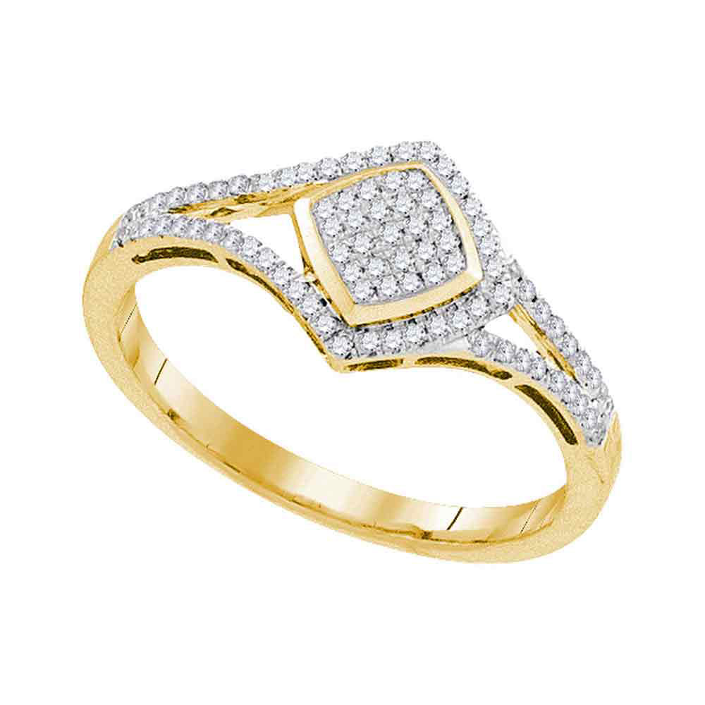 0.20 CTW Diamond Diagonal Square Cluster Split-shank Ring 10KT Yellow Gold - REF-24H2M