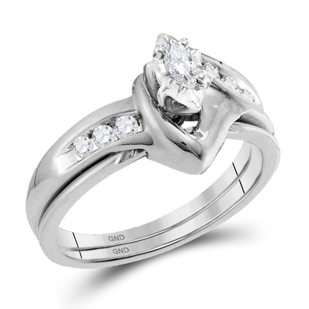 0.24 CTW Marquise Diamond Solitaire Classic Bridal Set 10KT White Gold - REF-34K4W