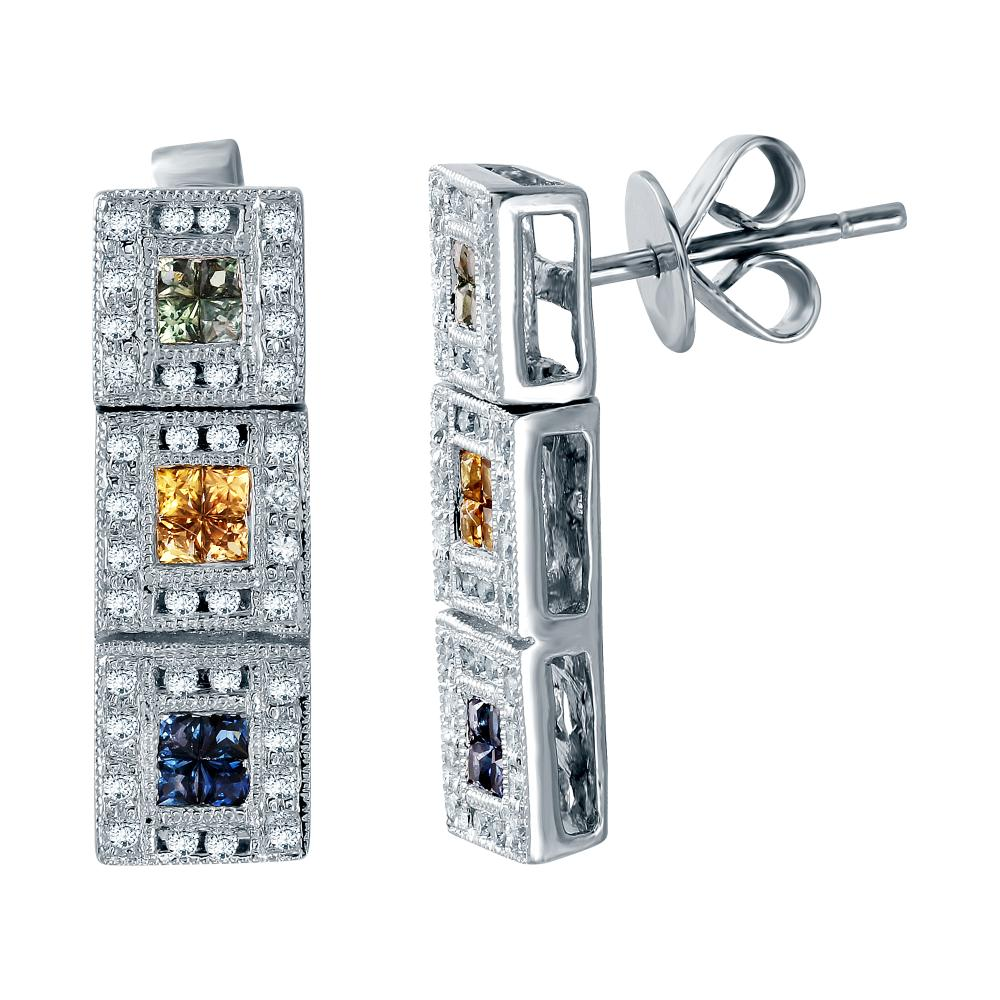 0.97 CTW Multi-Color Sapphire & Diamond Earrings 18K White Gold - REF-71W5H
