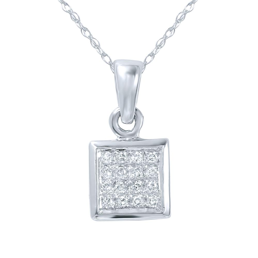 0.08 CTW Diamond Necklace 14K White Gold - REF-12M7F
