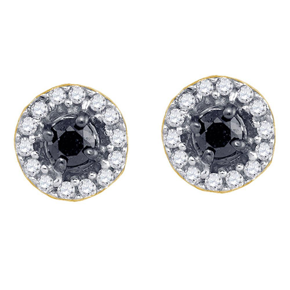 0.20 CTW Black Color Diamond Stud Screwback Earrings 10KT Yellow Gold - REF-12N8F