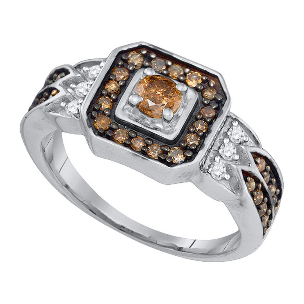 0.68 CTW Enhance Cognac Brown Diamond Bridal Ring 10KT White Gold - REF-34X4Y