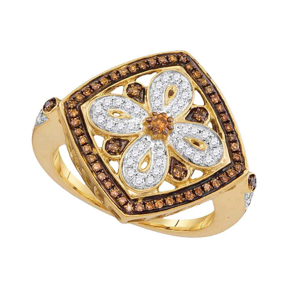 0.40 CTW Brown Color Diamond Square Fashion Ring 14KT Yellow Gold - REF-49F5N