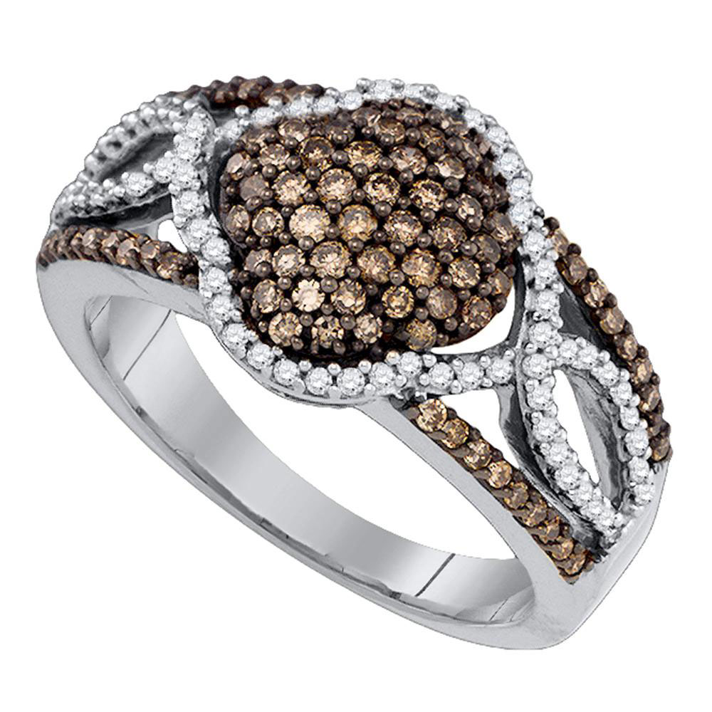 0.68 CTW Cognac-brown Color Diamond Quadrefoil Cluster Ring 10KT White Gold - REF-44Y9X