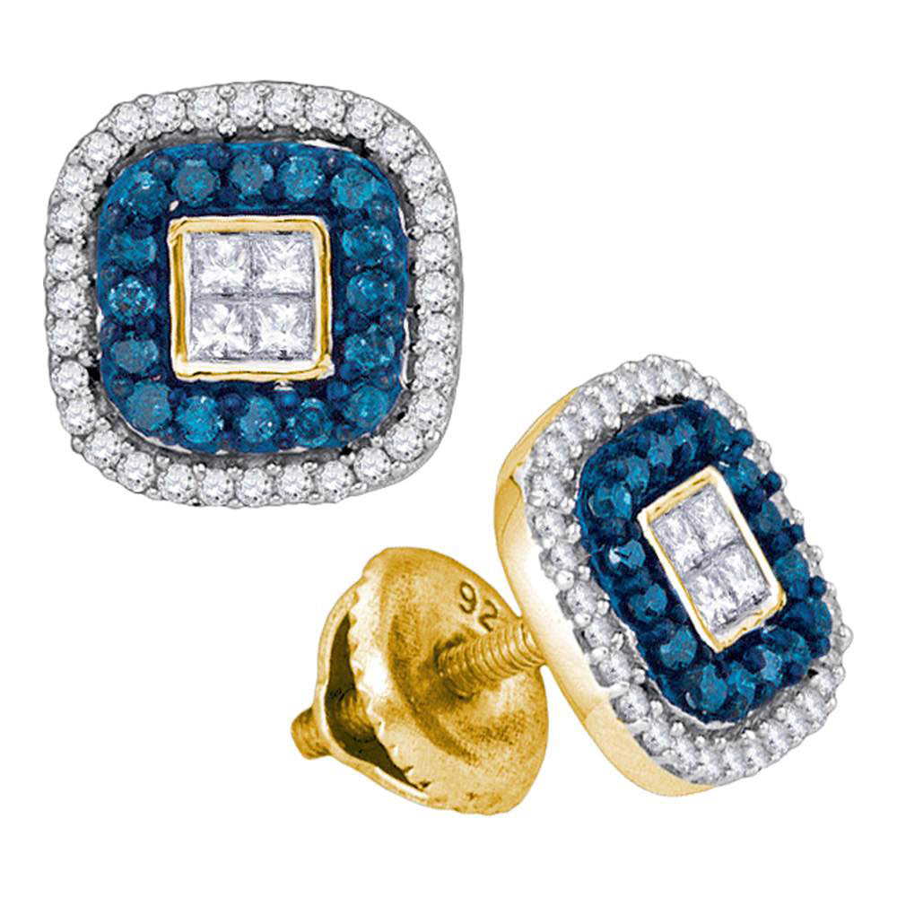 0.50 CTW Blue Color Diamond Square Cluster Earrings 10KT Yellow Gold - REF-30X2Y