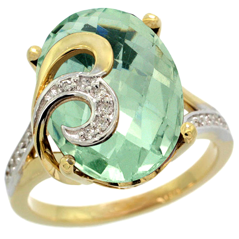 Natural 11.18 ctw green-amethyst & Diamond Engagement Ring 14K Yellow Gold - REF-82W2K