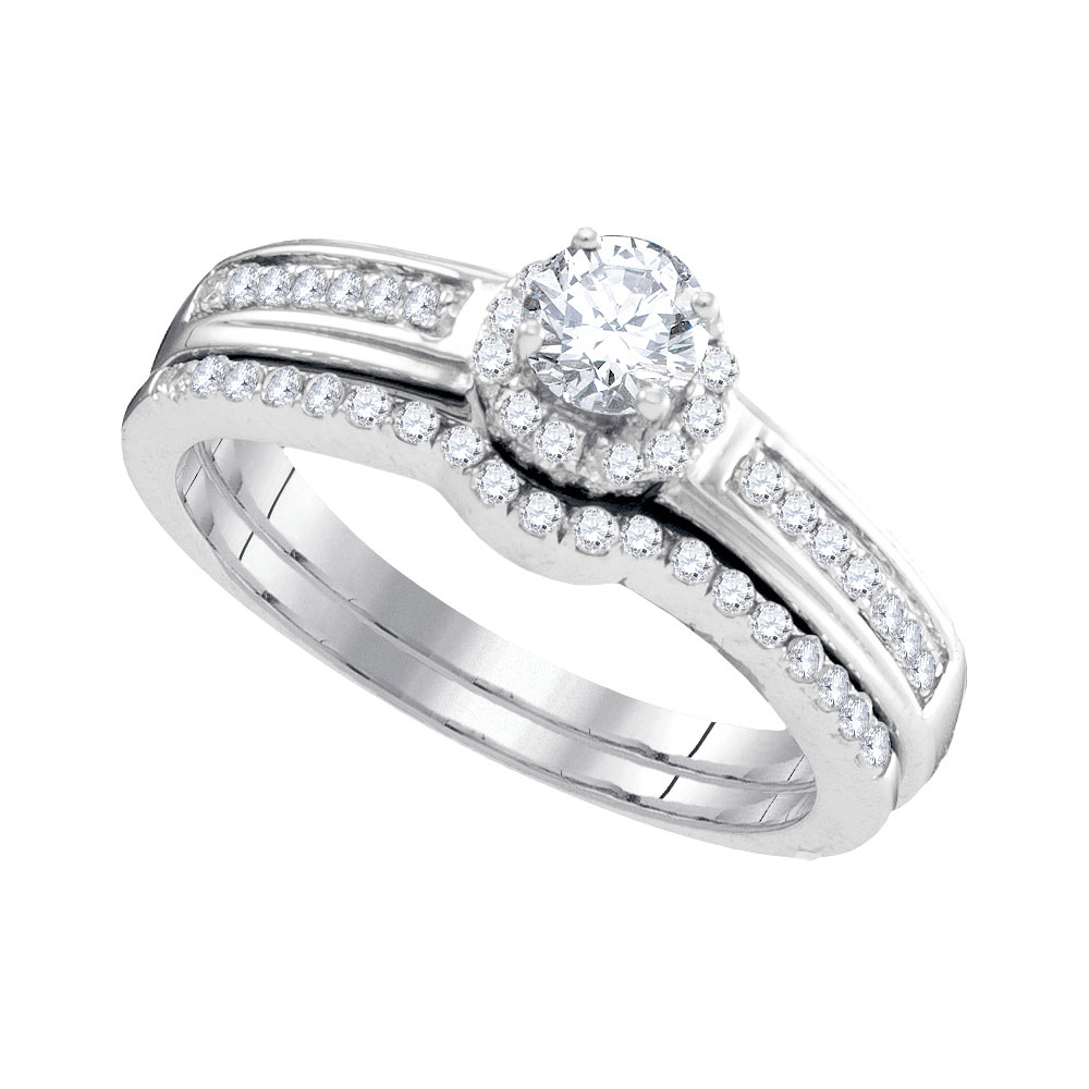 0.50 CTW Diamond Bridal Wedding Engagement Ring 10KT White Gold - REF-46N4F