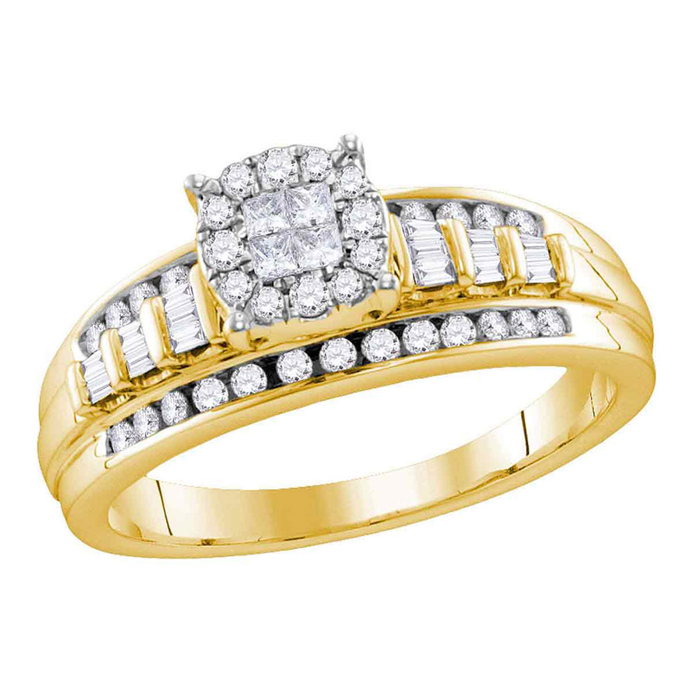 0.51 CTW Princess Diamond Cluster Bridal Engagement Ring 10KT Yellow Gold - REF-49M5H