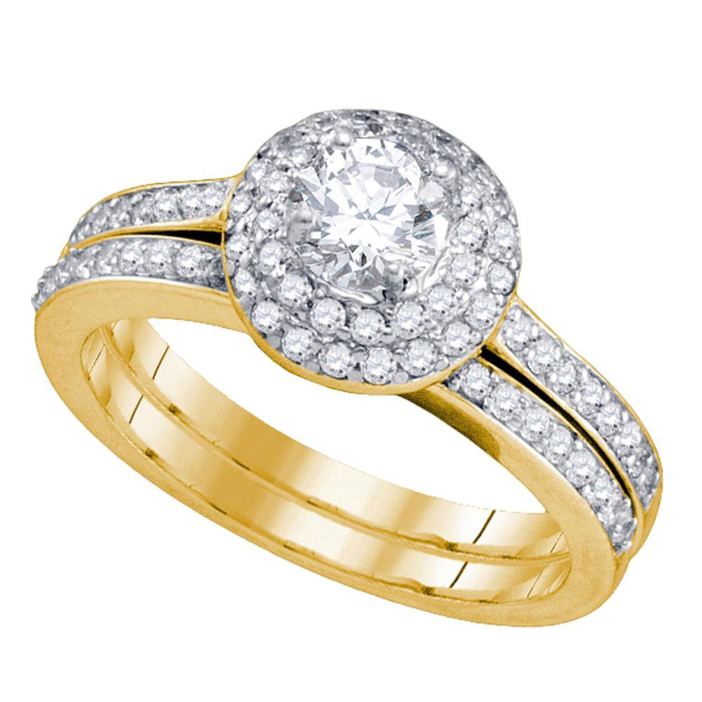 1 CTW Diamond Halo Bridal Engagement Ring 14KT Yellow Gold - REF-165N2F
