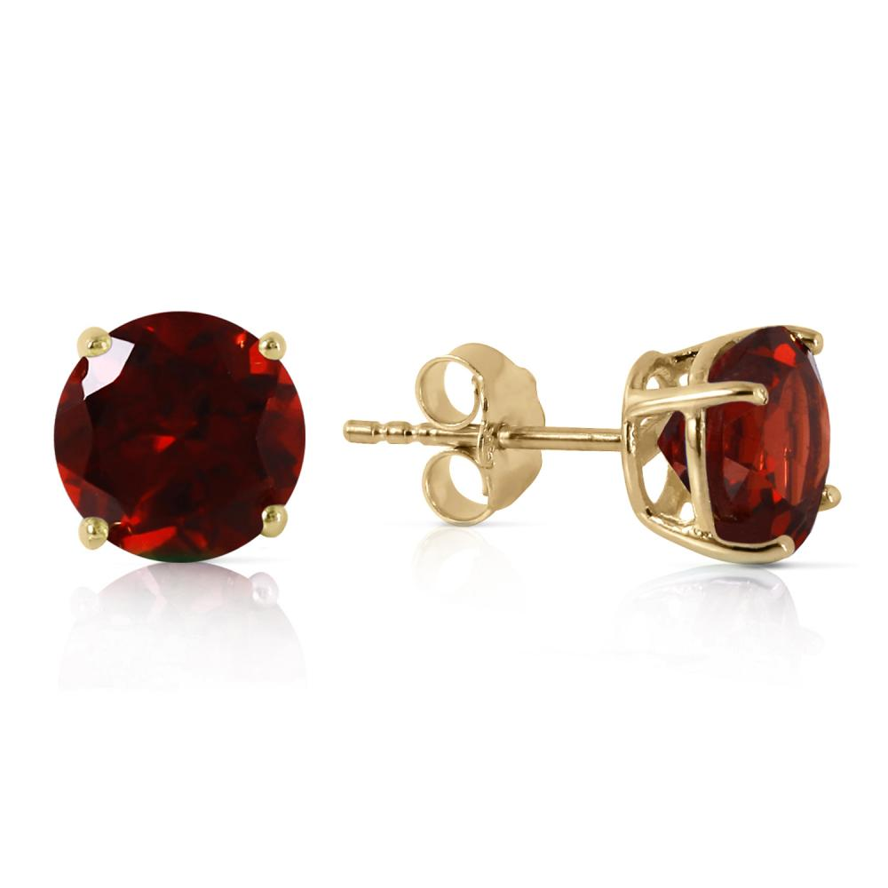 Genuine 3.1 ctw Garnet Earrings Jewelry 14KT Yellow Gold - REF-24Y3F