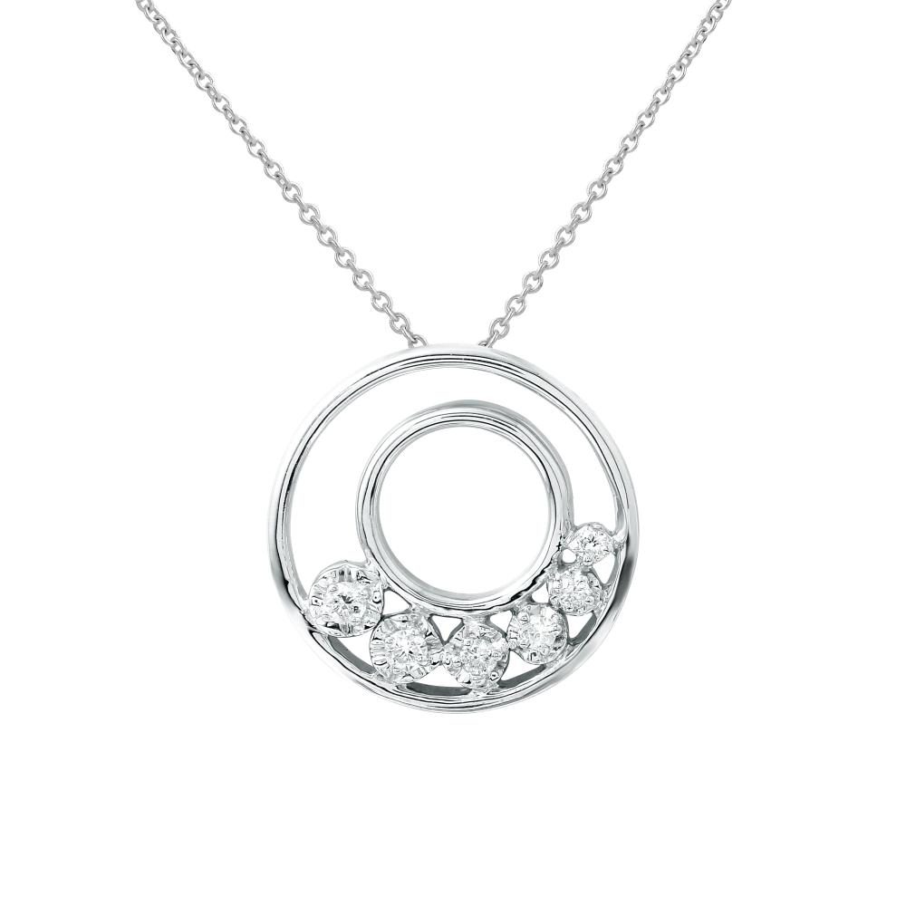 0.15 CTW Diamond Necklace 14K White Gold - REF-27M9F