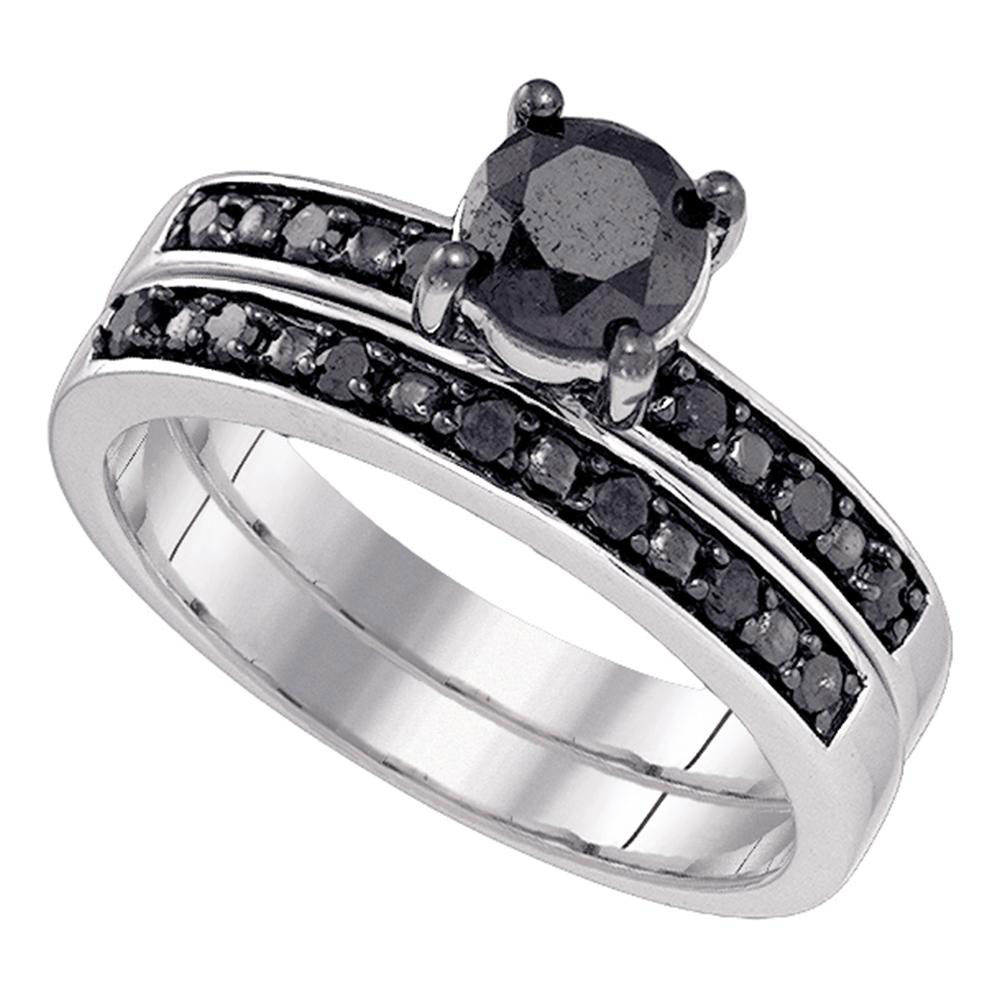 1 CTW Black Color Diamond Bridal Wedding Engagement Ring 10KT White Gold - REF-34K4W