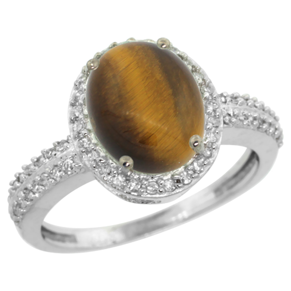 Natural 2.56 ctw Tiger-eye & Diamond Engagement Ring 10K White Gold - REF-30R5Z