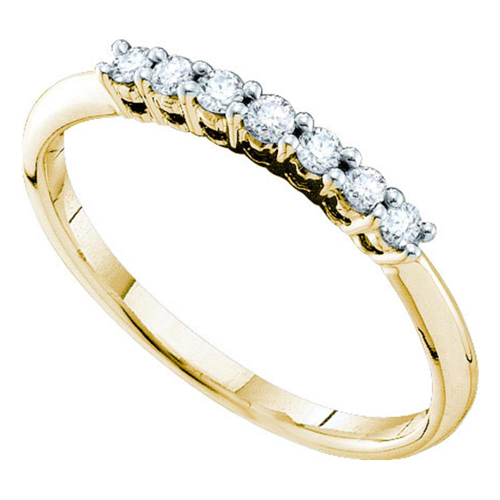 0.20 CTW Pave-set Diamond Slender Wedding Ring 14KT Yellow Gold - REF-22F4N