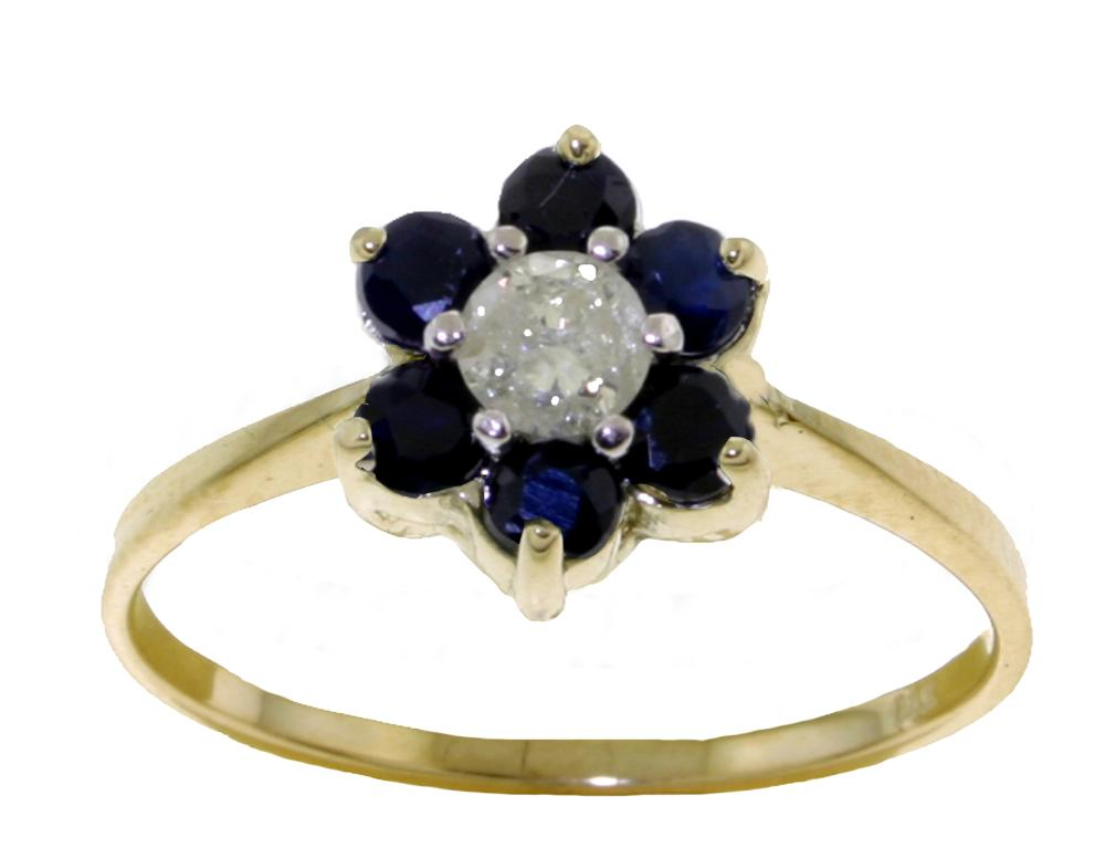 Genuine 0.50 ctw Sapphire & Diamond Ring Jewelry 14KT Yellow Gold - REF-42H2X